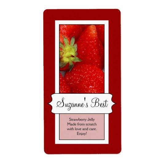 Personifierad burketikett på burk, jordgubbe fraktsedel