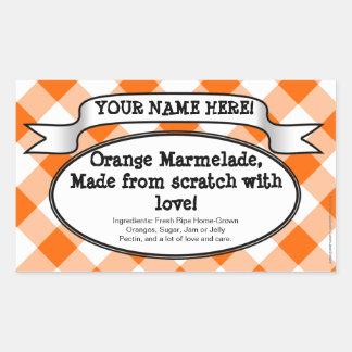 Personifierad burketikett på burk, orange rektangulärt klistermärke