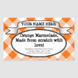 Personifierad burketikett på burk, orange Ginghams Klistermärken