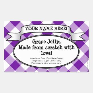 Personifierad burketikett på burk, purpurfärgad rektangulärt klistermärke