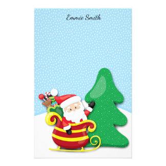 Personifierad färgrika jultomten Sleigh och snö Brevpapper