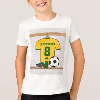 Personifierad fotboll Jersey för gultgröntfotboll Tee Shirt