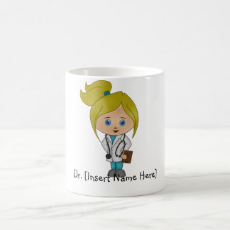 Personifierad gullig damdoktormugg - blondin kaffemugg