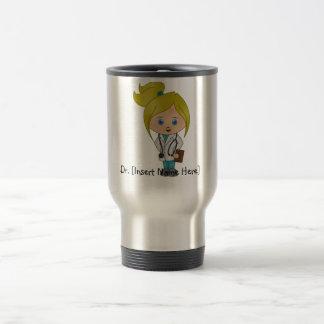 Personifierad gullig damdoktormugg - blondin rostfritt stål resemugg