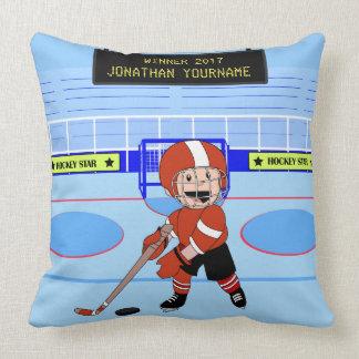 Personifierad gullig filt för ishockeystjärnaull prydnadskuddar