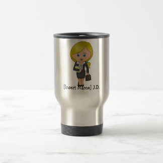 Personifierad kvinnlig advokat - blondin, rostfritt stål resemugg