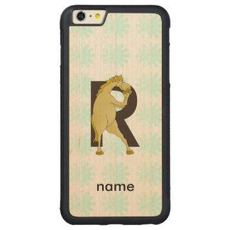 Personifierad lättrörlig ponny för Monogram R Carved Lönn iPhone 6 Plus Bumper Skal