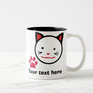 Personifierad lycklig kattmugg Två-Tonad mugg