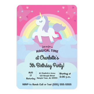 Personifierad Magical Unicornfödelsedag med fotoet 12,7 X 17,8 Cm Inbjudningskort