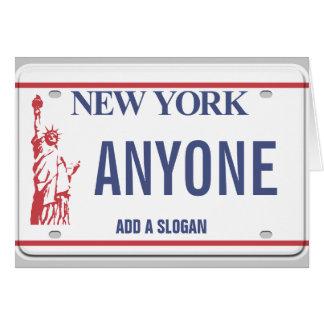 (Personifierad) New York registreringsskylt, Hälsningskort