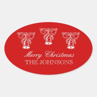 Personifierad oval juletiketter med klockor ovalt klistermärke