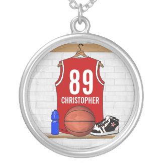 Personifierad röd basket Jersey Halsband Med Rund Hängsmycke