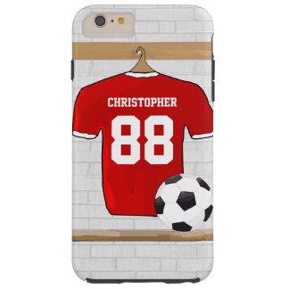 Personifierad röd och vitfotbollfotboll Jersey Tough iPhone 6 Plus Fodral