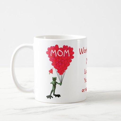 Personifierad rolig grodamors dag kaffe mugg