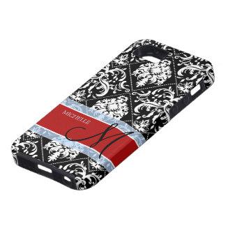 Personifierad svartvit damast med Mongram iPhone 5 Hud