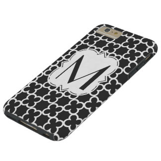 Personifierad svartvit Monogram Quatrefoil Tough iPhone 6 Plus Skal