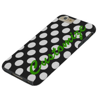 Personifierad svartvit polka dots tough iPhone 6 plus fodral