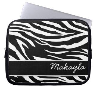 Personifierad svartvit zebra tryck datorfodral