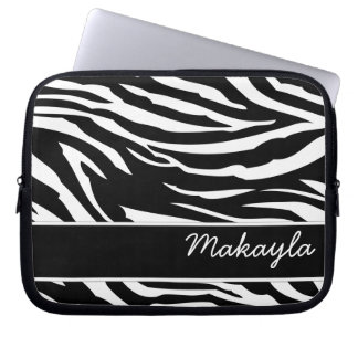 Personifierad svartvit zebra tryck laptop fodral