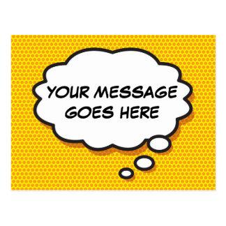 Personifierad tanke för humorbokpopkonst bubblar vykort