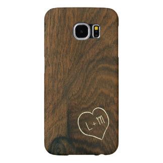 Personifierad Wood struktur för åldrig mahogny Galaxy S5 Fodral
