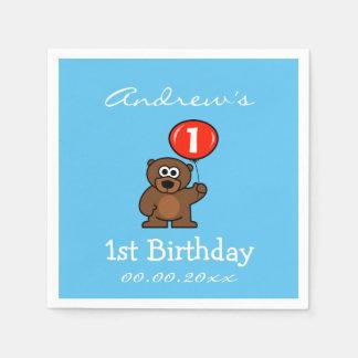 Personifierade 1st födelsedagsfestservetter med pappersservett