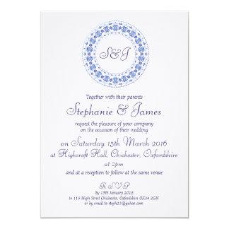 Personifierade klassikerchinablått gifta sig 12,7 x 17,8 cm inbjudningskort