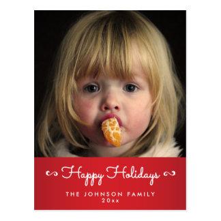 Personifierade röda glad helgfotovykort vykort