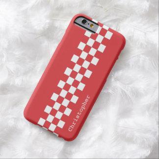Personifierade röda och för vit tävlings- barely there iPhone 6 skal