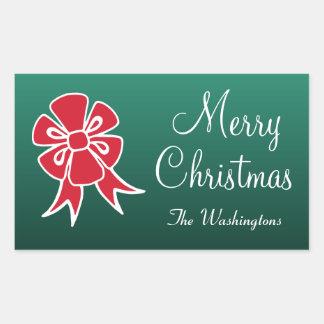 Personifierade röda pilbågegod julklistermärkear rektangulärt klistermärke