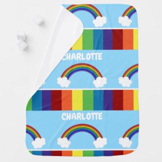 Personifierat färgrikt för regnbåge mönster bebisfilt