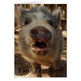 Personifierat förtjusande mini- grishälsningkort, hälsningskort