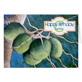 Personifierat kort för kokosnötgrattis på