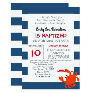 Personifierat litet dop för marin nautisk krabba 8,9 x 12,7 cm inbjudningskort