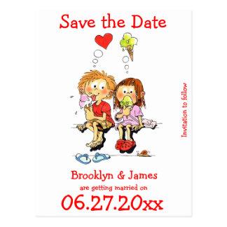 Personifierat roligt sparade datumen vykort