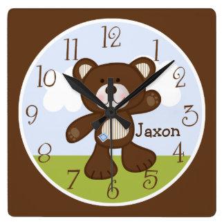 Personlig B är för björn/nalle som ungar tar tid Fyrkantig Klocka