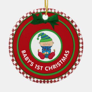 Personlig för älva för Babys första julhelgdag Julgransprydnad Keramik