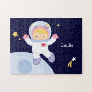 Personlig för astronautflickabarn pussel