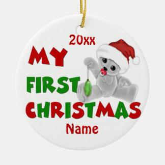 Personlig för Babys första julbjörn Rund Julgransprydnad I Keramik