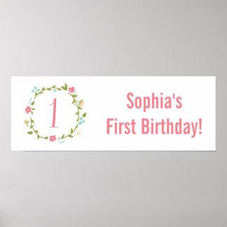 Personlig för födelsedag för blom- kranflicka 1st poster