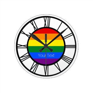 Personlig för gay prideregnbågeflagga LGBT Rund Klocka