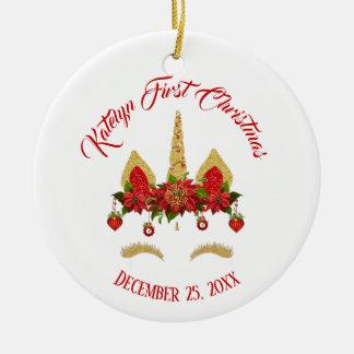 Personlig för guld för Magical julUnicorn röd Julgransprydnad Keramik