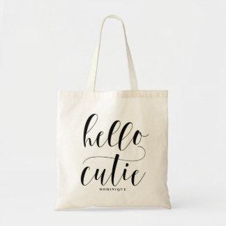 Personlig för hejCutie svart modern Calligraphy Budget Tygkasse