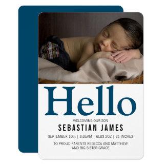 Personlig för hejnyfödd bebisblått 12,7 x 17,8 cm inbjudningskort