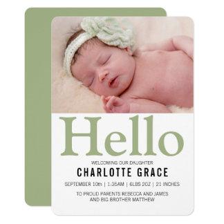 Personlig för hejnyfödd bebisgrönt 12,7 x 17,8 cm inbjudningskort