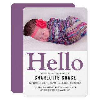 Personlig för hejnyfödd bebislilor 12,7 x 17,8 cm inbjudningskort