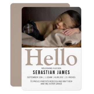 Personlig för hejnyfödd bebisTaupe 12,7 X 17,8 Cm Inbjudningskort