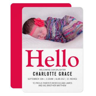Personlig för rosor för hejnyfödd bebis ljus 12,7 x 17,8 cm inbjudningskort
