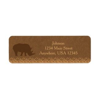 Personlig för Silhouette   för noshörning för Returadress Etikett