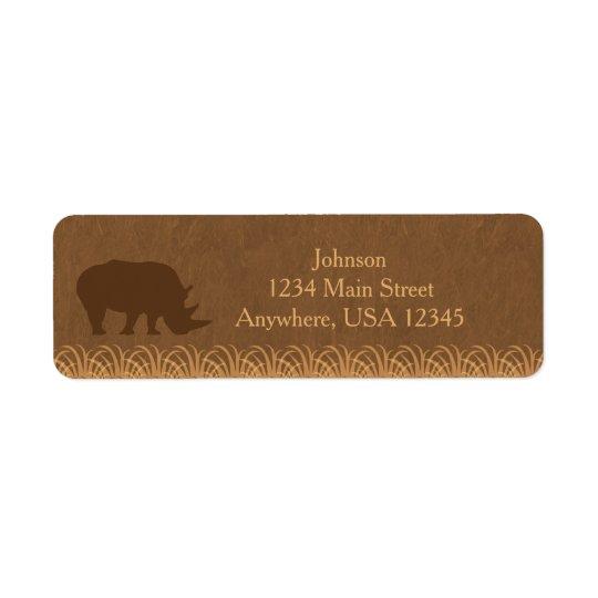 Personlig för Silhouette | för noshörning för Returadress Etikett